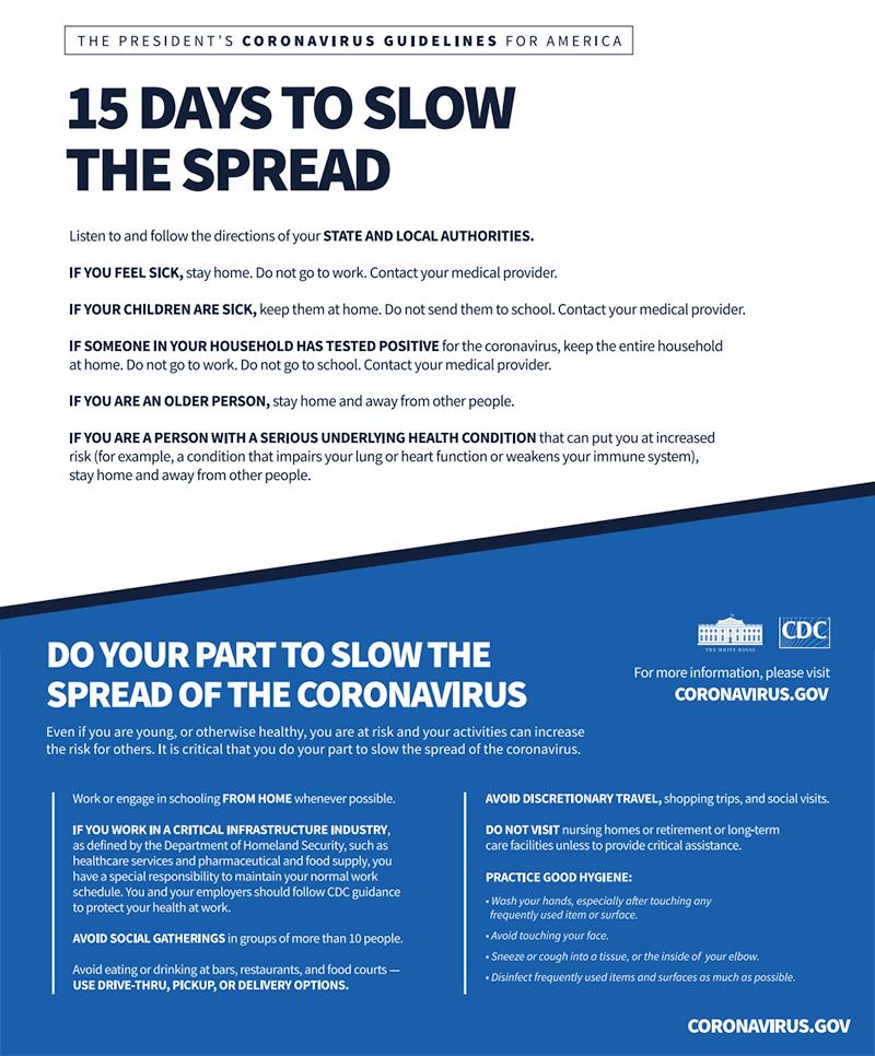 15 days to slow the spread of coronavirus